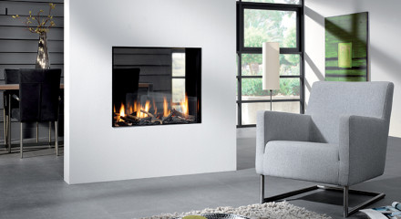 Modern See-Through Fireplace