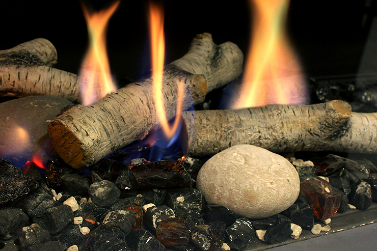 Fall Birch fire media burning birch media ceramic logs log set stone fire media rock fire media